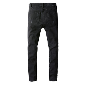 AMRI DESTROYED BIKER DENIM - BLACK