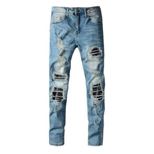 Load image into Gallery viewer, AMRI DESTROYED BIKER PATCH JEANS - BLUE