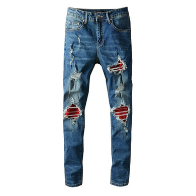 AMRI RED BIKER PATCH DENIM - BLUE