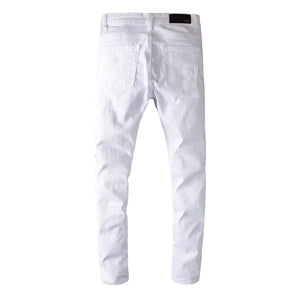 AMIRI DESTROYED RIVET DENIM - WHITE