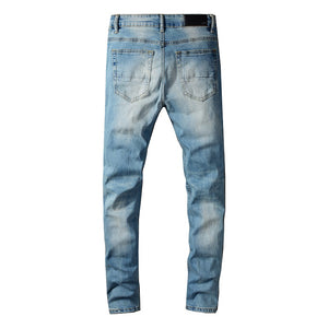 AMRI DESTROYED BIKER PATCH JEANS - BLUE