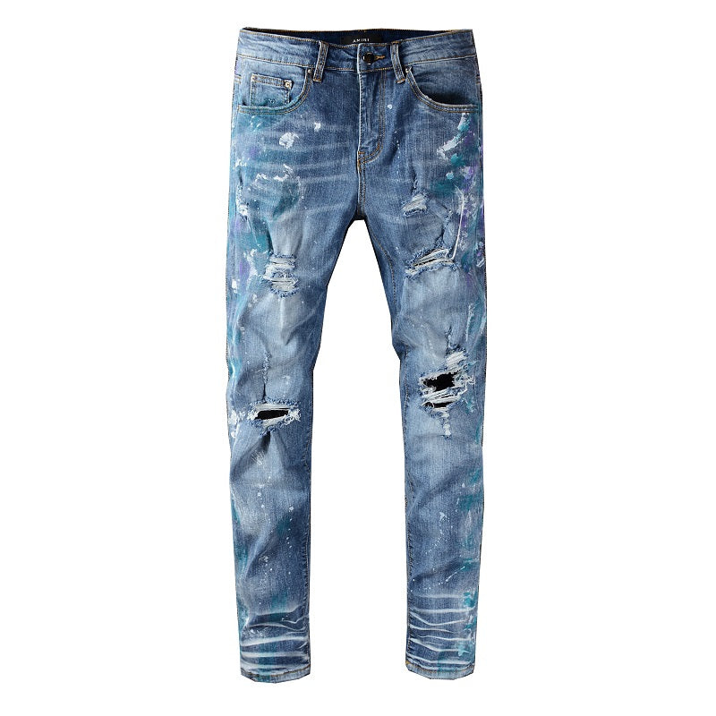 AMRI DESTROTYED SPLASH DENIM -  BLUE