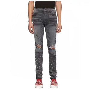 AMRI DESTROYED SPLATER DENIM -GREY