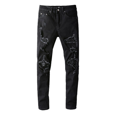 AMRI LEATHER REPAIR JEANS - BLACK