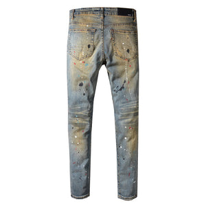 AMRI DESTROYED SPLATER DENIM - YELLOW