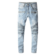 Load image into Gallery viewer, AMRI & BALMAIN BIKER LEATHER JEANS - BLUE