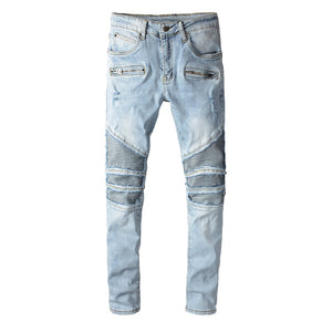 AMRI & BALMAIN BIKER LEATHER JEANS - BLUE