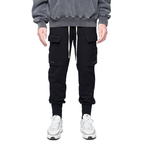 COTTON CARGO PANT - BLACK