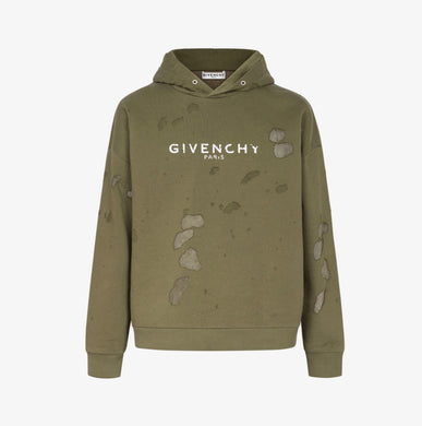 GVC PARIS DESTROYED HOODIE - OLIVE GREEN