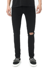 Load image into Gallery viewer, AMRI LEO DISTRESSED ZIPPER JEANS - BLACK