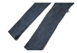 Blue Knee Hole Zipper Denim