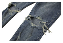 Load image into Gallery viewer, Blue Knee Hole Zipper Denim