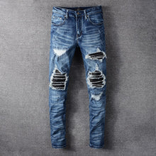 Load image into Gallery viewer, AMRI LEATHER BIKER DENIM