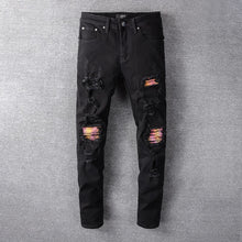 Load image into Gallery viewer, AMRI BIKER PATCH DENIM-BLACK