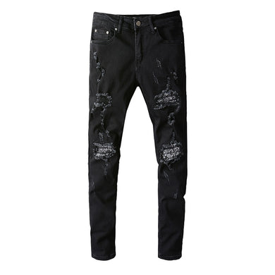 AMRI BANDANA PATCH DENIM - BLACK
