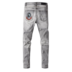AMRI BEAR PATCH DENIM - GREY