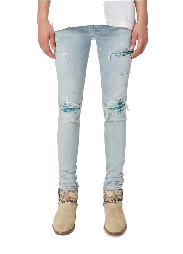 AMIRI BIKER PATCH DENIM - BLUE