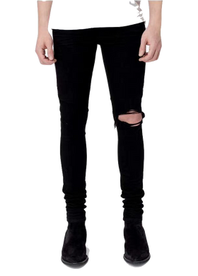 AMRI DESTROYED HALF ZIP DENIM -BLACK