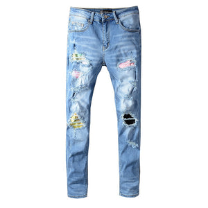 AMRI DESTROYED TIE DYE PATCH JEAN - BLUE