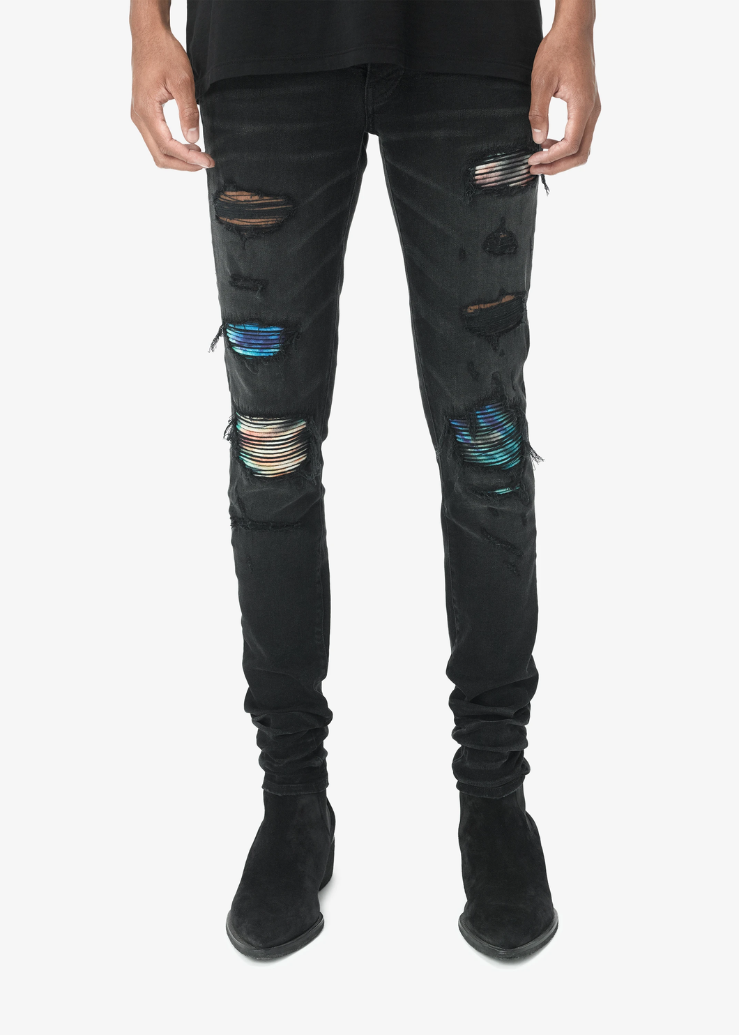 AMRI TIE DYE BIKER DENIM -BLACK