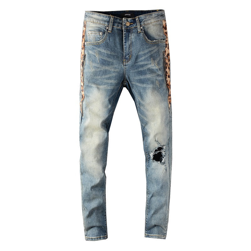 AMRI LEO DISTRESSED ZIPPER JEANS - BLUE