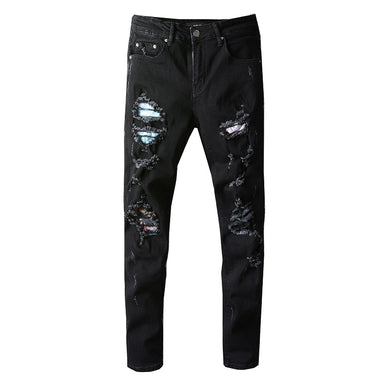 AMRI DESTROYED BIKER PATCH JEANS - BLACK