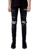 Load image into Gallery viewer, AMRI BIKER PATCH DENIM - BLACK