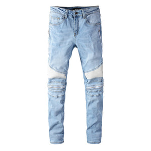 AMRI ZIPPER JEANS - LIGHT BLUE