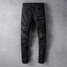 Load image into Gallery viewer, AMRI  BIKER LEATHER JEANS - BLACK