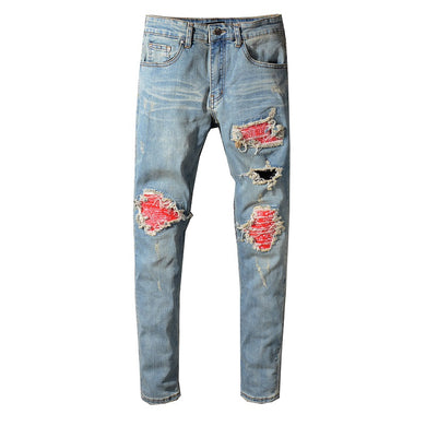 AMRI BIKER PATCH DENIM - BLUE /RED