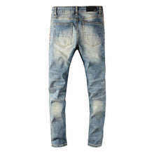 Load image into Gallery viewer, AMRI LEO DISTRESSED ZIPPER JEANS - BLUE