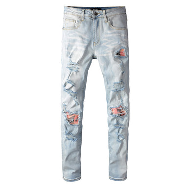 AMRI BIKER PATCH JEANS - LIGHT BLUE