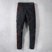 Load image into Gallery viewer, Amri Striped Cargo Denim - Black / Red