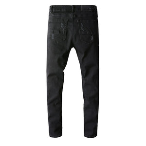 AMRI DESTROYED BIKER JEANS - BLACK