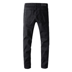 AMIRI RIVET DESTROTYED DENIM - BLACK