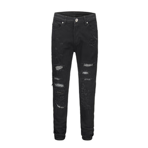 Destroyed Rivet Denim - Black