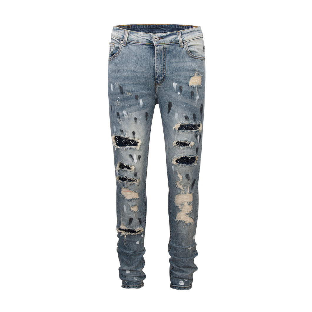 Destroyed Rivet Denim - Blue