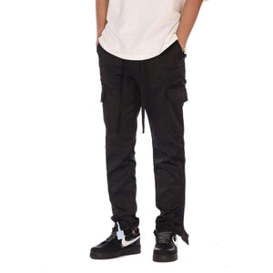 BUTTON CARGO PANTS - BLACK