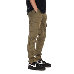 BUTTON CARGO PANTS - OLIVE