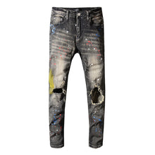 Load image into Gallery viewer, AMRI SPLATER DENIM - SMOKE GREY