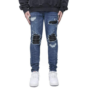 AMRI LEATHER BIKER DENIM