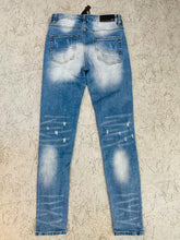 Load image into Gallery viewer, AMRI STUD BIKER PATCH JEANS - BLUE