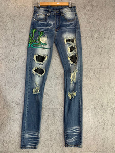 AMRI SNAKE PATCH DENIM