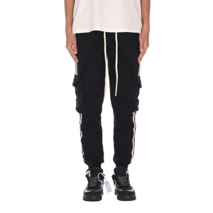STRIPE CARGO PANTS - BLACK