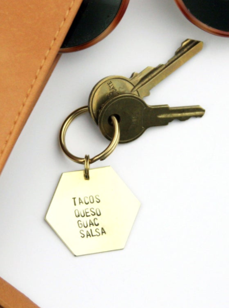 Tacos Queso Guac Salsa Brass Keychain