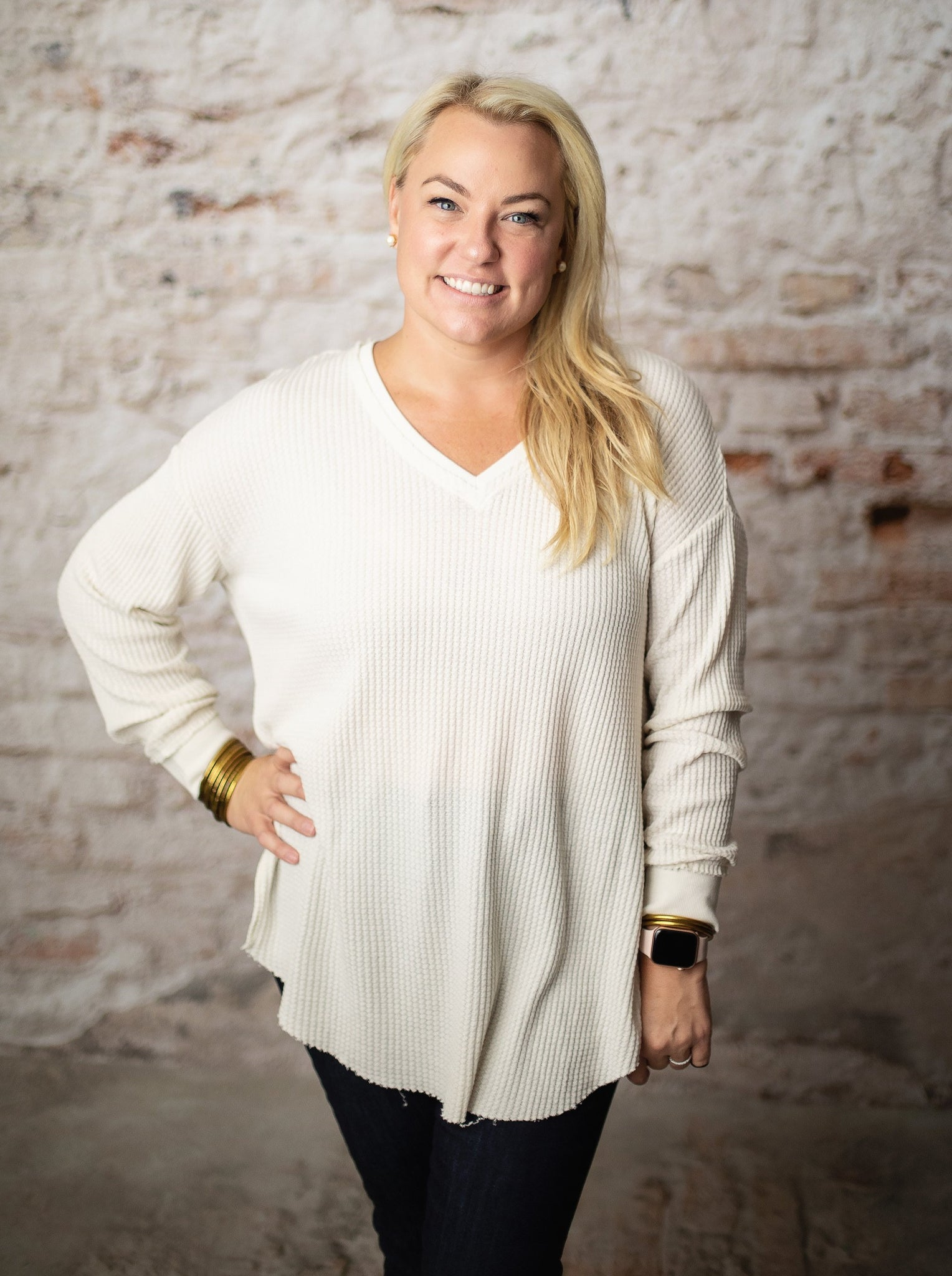 The Waffle Thermal Tunic Top in Champagne Mist