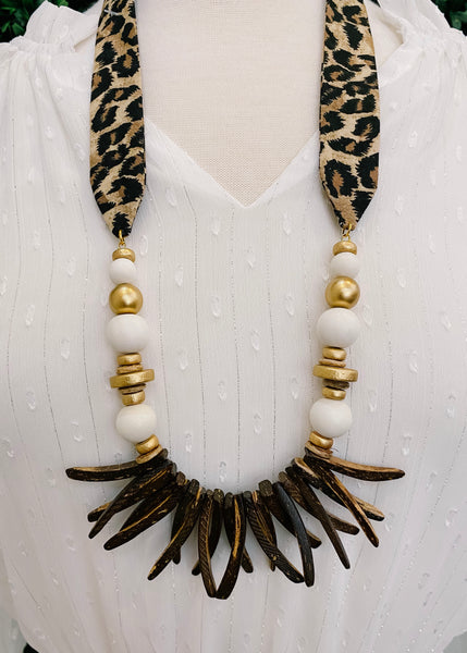 Leopard Fabric Necklace