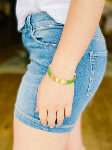 Olive Color Block Bracelet