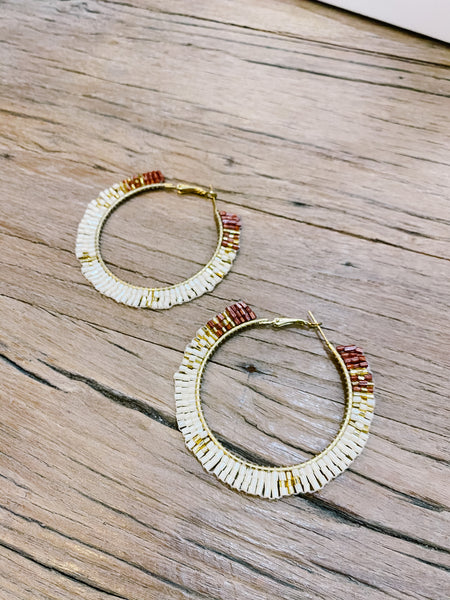 Meghan Beaded Fan Hoops