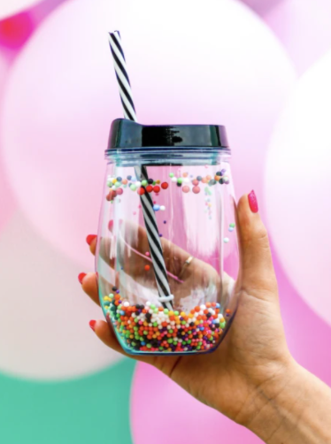 Mini Pom Pom Tumbler 12oz - Clear/Black Lid